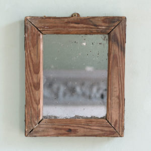 Small French pine framed mirror,-0