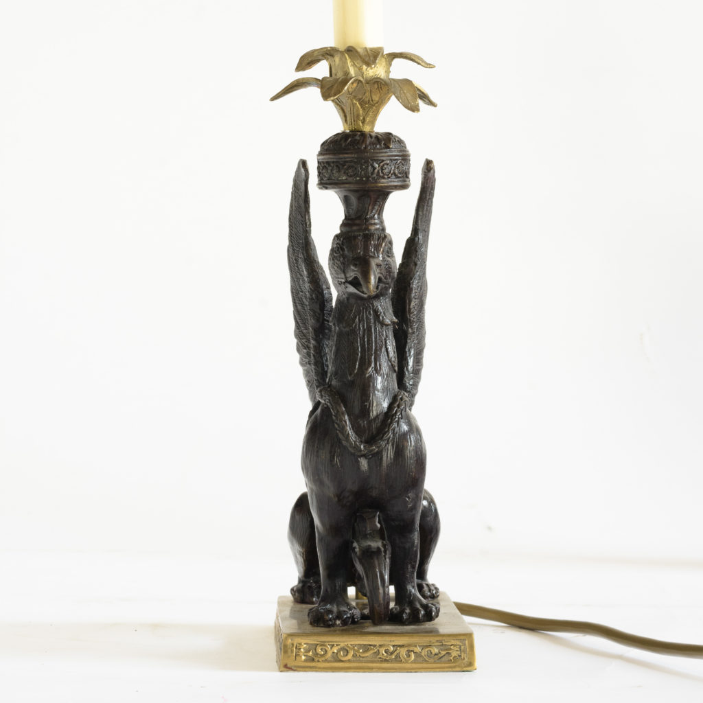 A pair of winged griffin bronze and brass table lamps,-106350