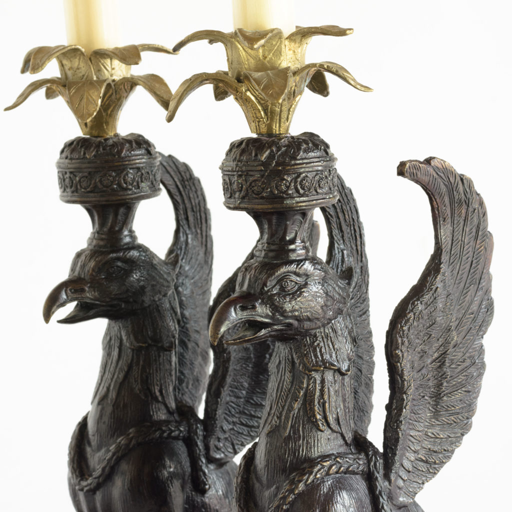 A pair of winged griffin bronze and brass table lamps,-106342