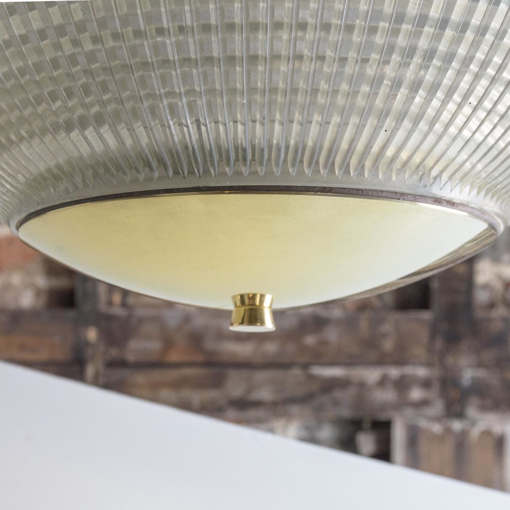 Large French Holophane globe pendant lights,-106847