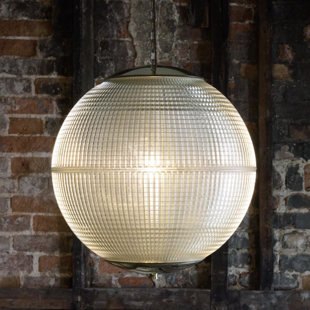 Large French Holophane globe pendant lights,-106848