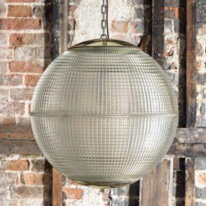 Large French Holophane globe pendant lights,-0