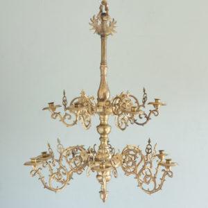 Nineteenth century brass twelve light candle chandelier,-0