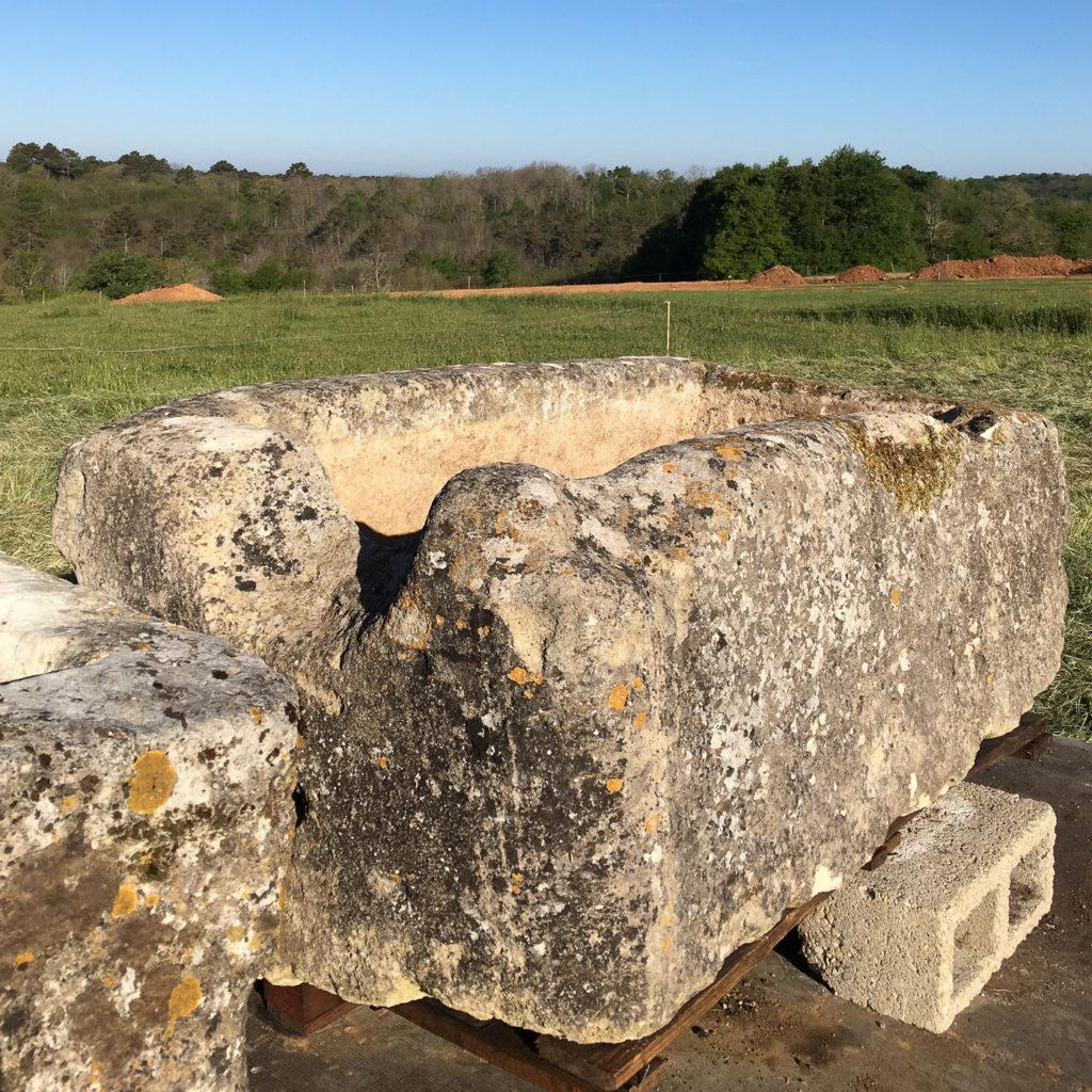 Large French limestone trough,-106786