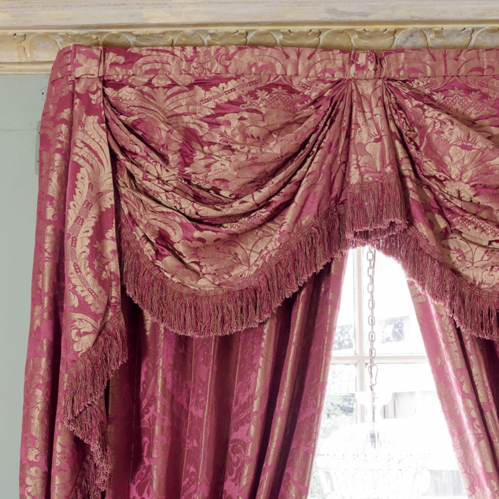 Red floral patterned silk damask curtains,-107101