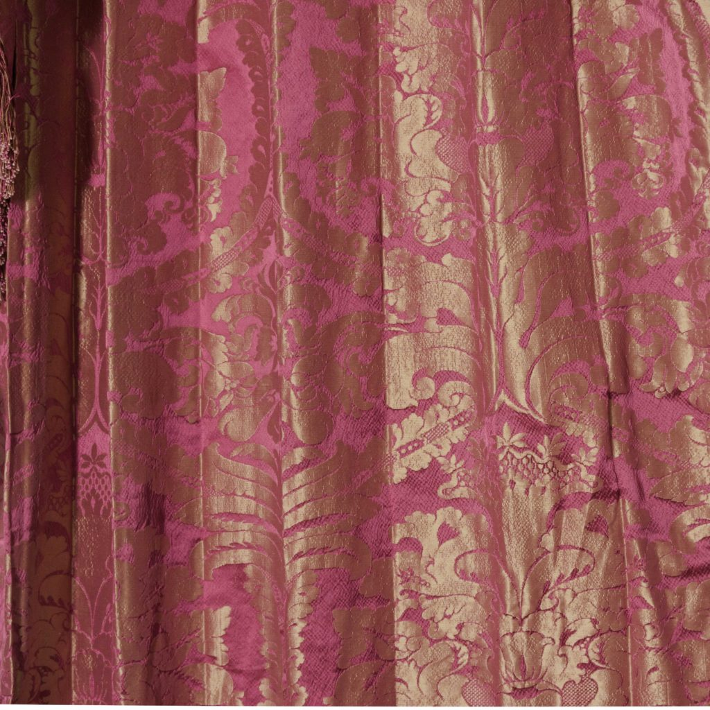 Red floral patterned silk damask curtains,-107099