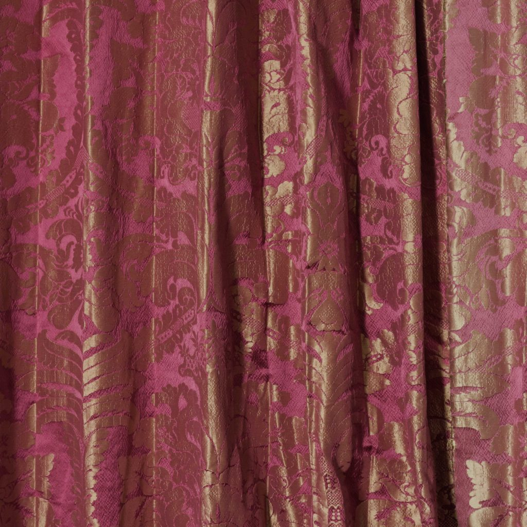 Red floral patterned silk damask curtains,-0