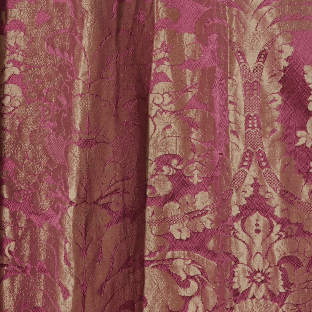 Red floral patterned silk damask curtains,-107100