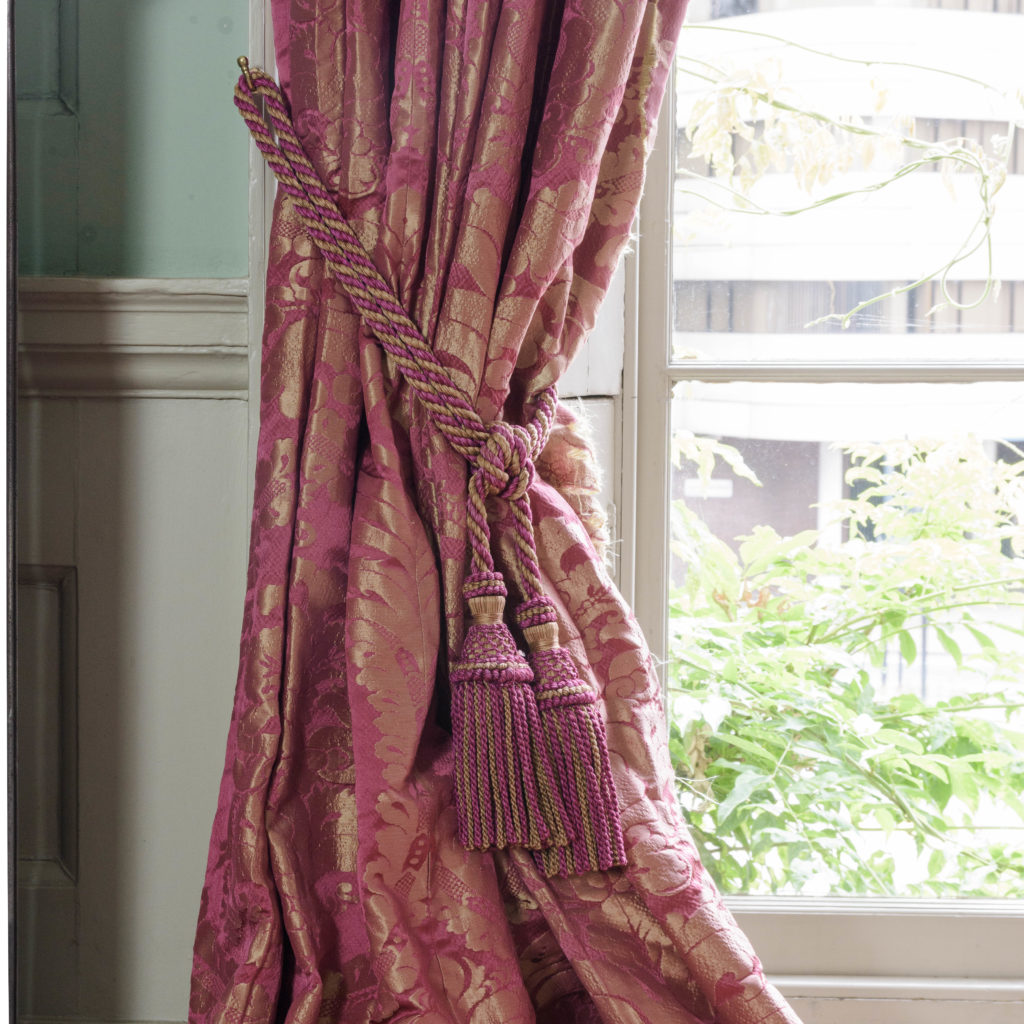 Red floral patterned silk damask curtains,-107106