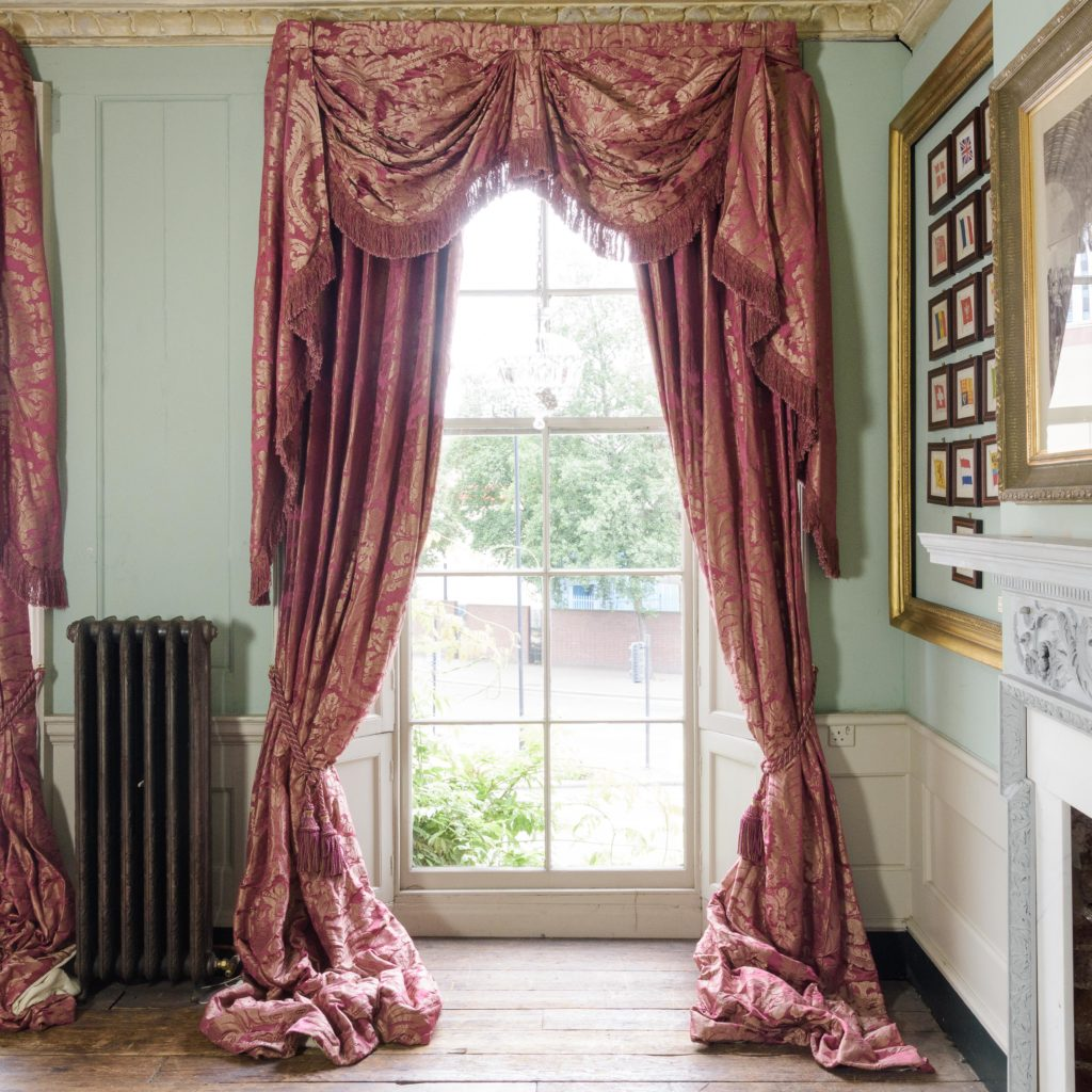 Red floral patterned silk damask curtains,-107107