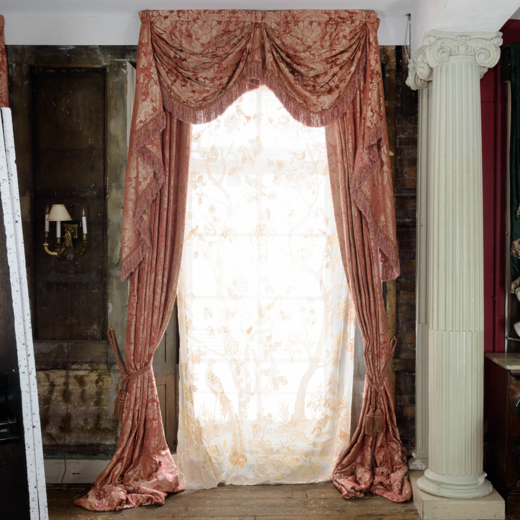 Coral floral patterned silk damask curtains,-107122