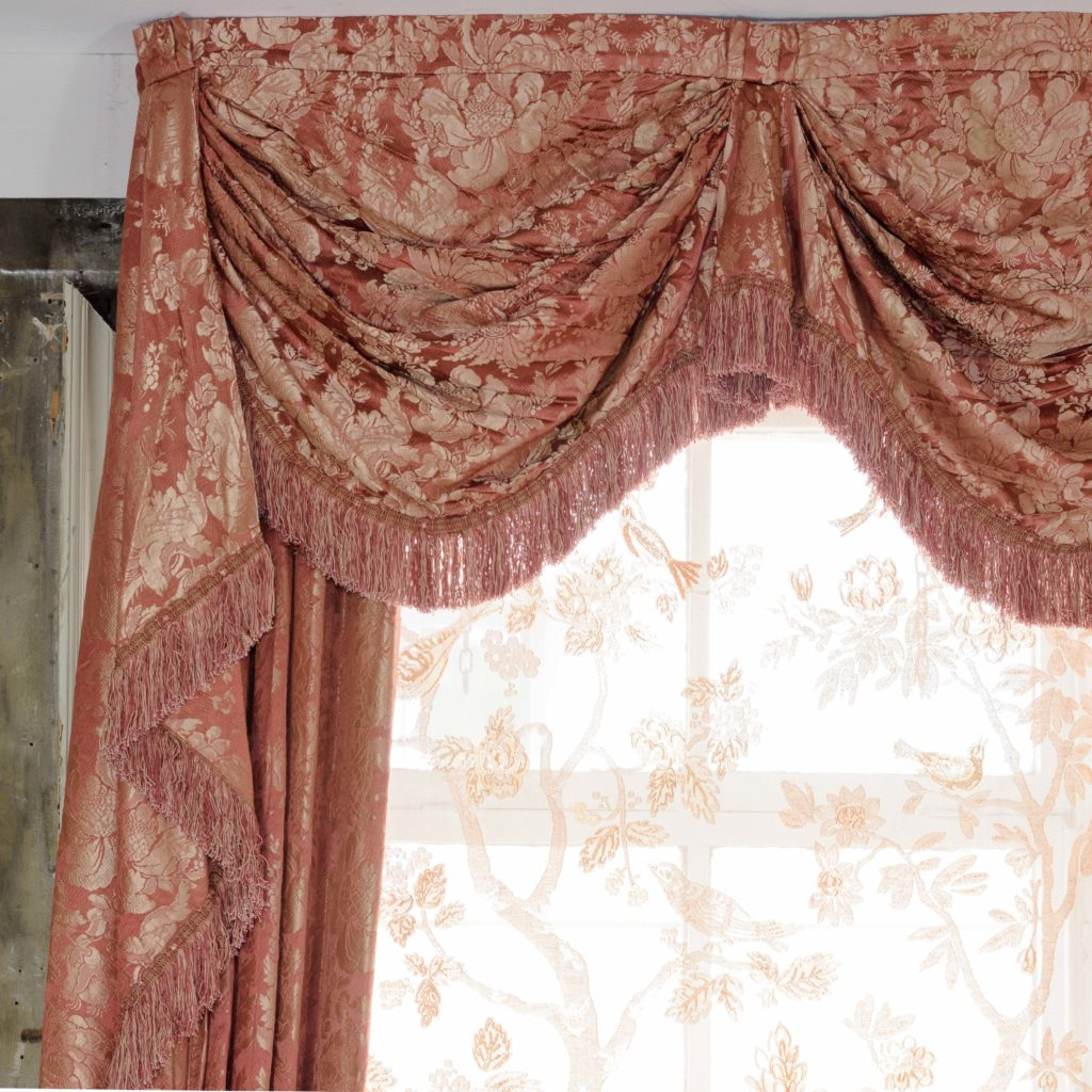Coral floral patterned silk damask curtains,-107116