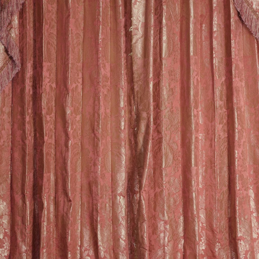 Coral floral patterned silk damask curtains,-107117