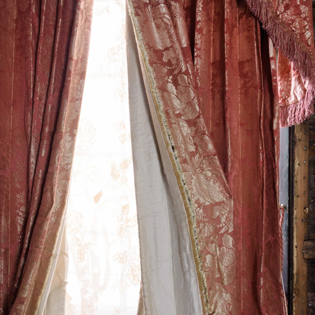 Coral floral patterned silk damask curtains,-107121