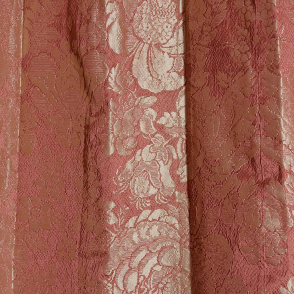 Coral floral patterned silk damask curtains,-107124