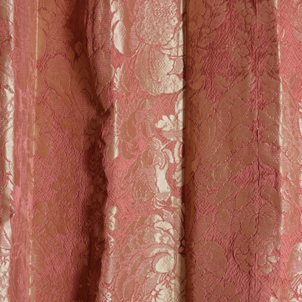 Coral floral patterned silk damask curtains,-0