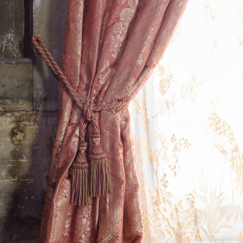 Coral floral patterned silk damask curtains,-107123