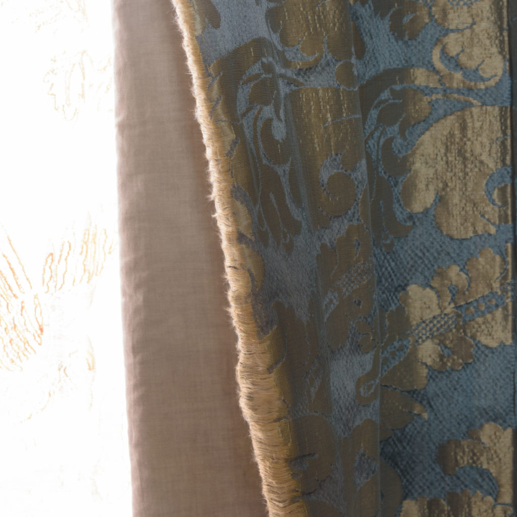 Silver teal leaf patterned silk damask curtains,-107126