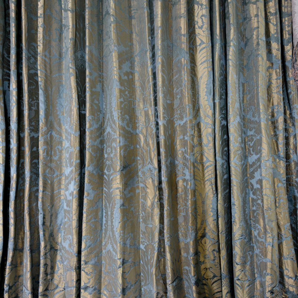 Silver teal leaf patterned silk damask curtains,-107133