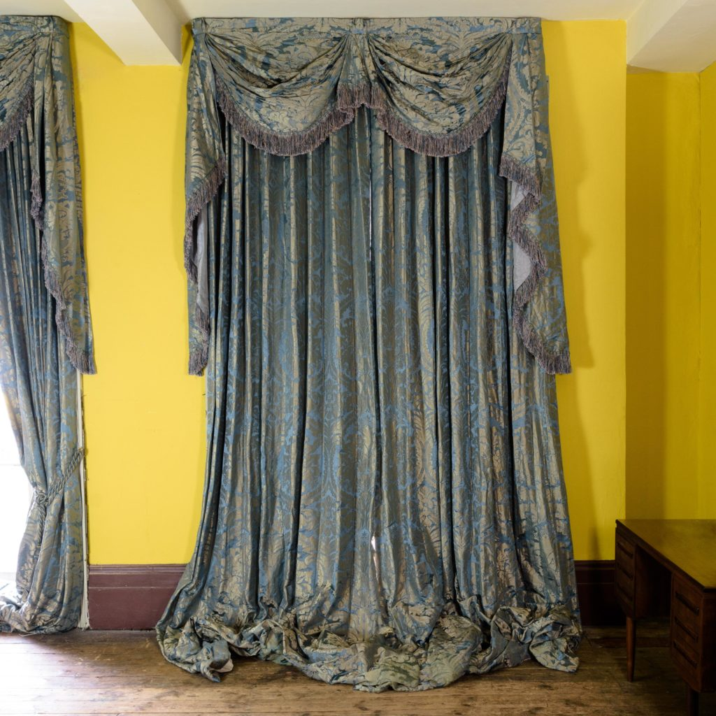 Silver teal leaf patterned silk damask curtains,-107134