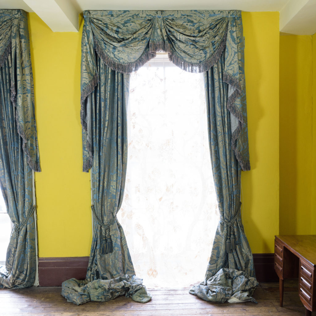 Silver teal leaf patterned silk damask curtains,-107125