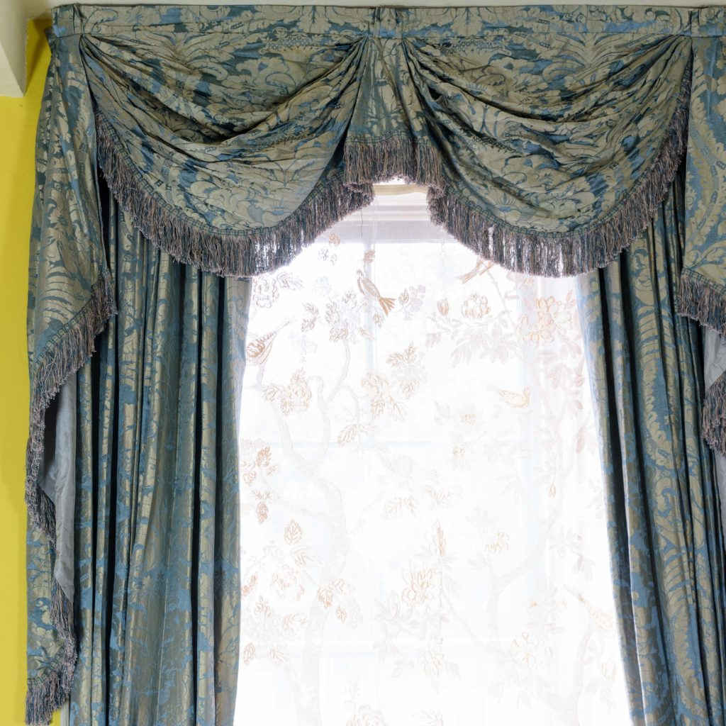 Silver teal leaf patterned silk damask curtains,-107131