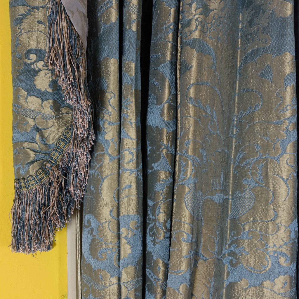 Silver teal leaf patterned silk damask curtains,-107130