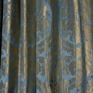 Silver teal leaf patterned silk damask curtains,-0