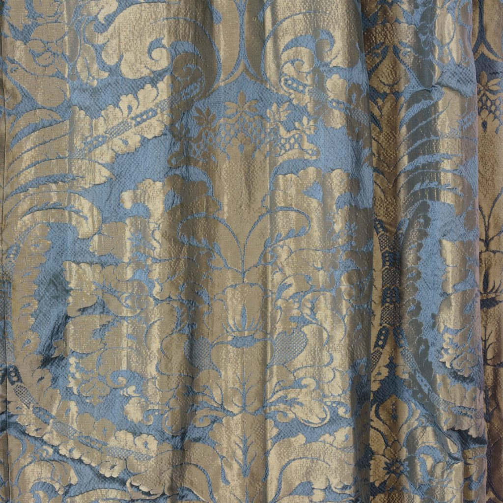 Silver teal leaf patterned silk damask curtains,-107128