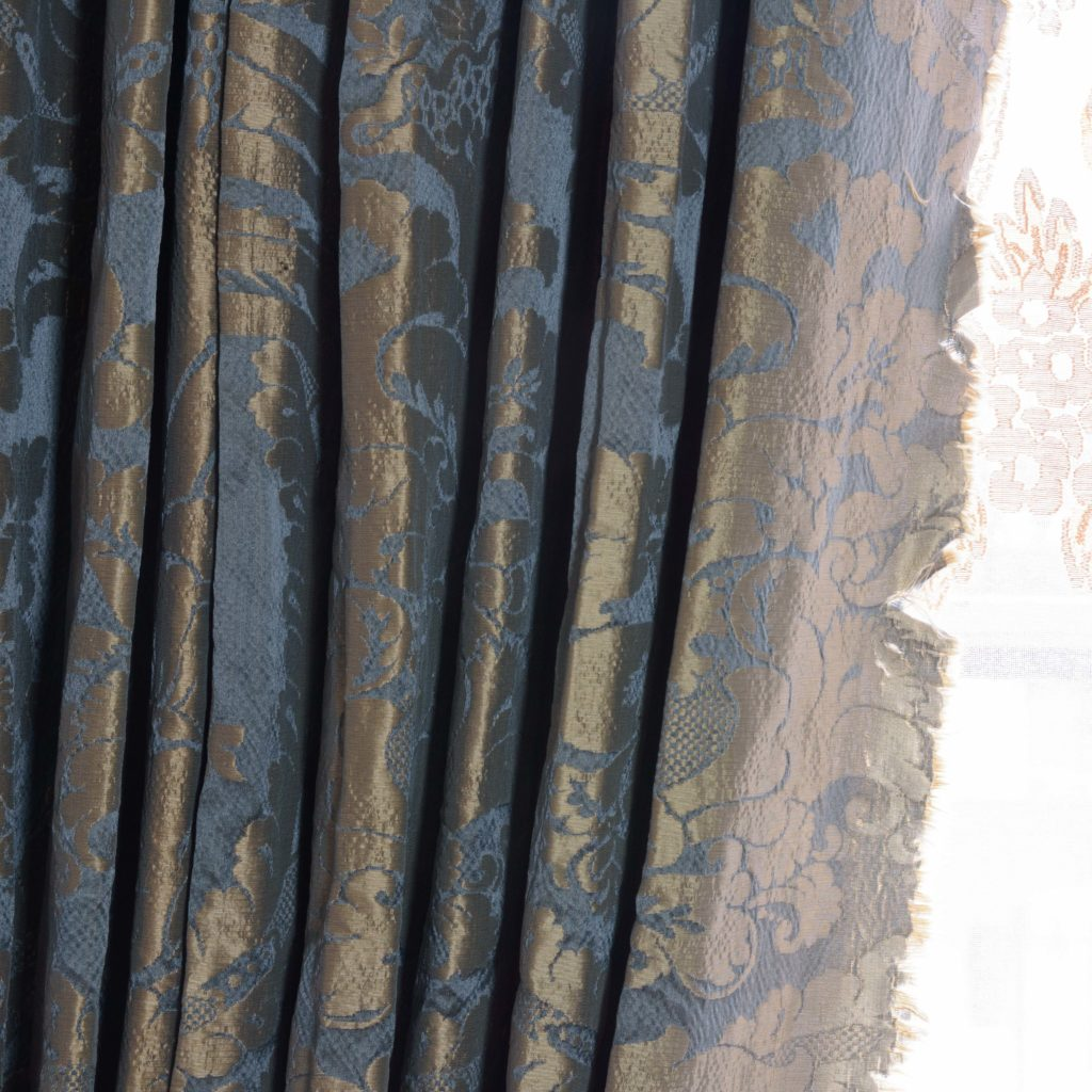 Silver teal leaf patterned silk damask curtains,-107132