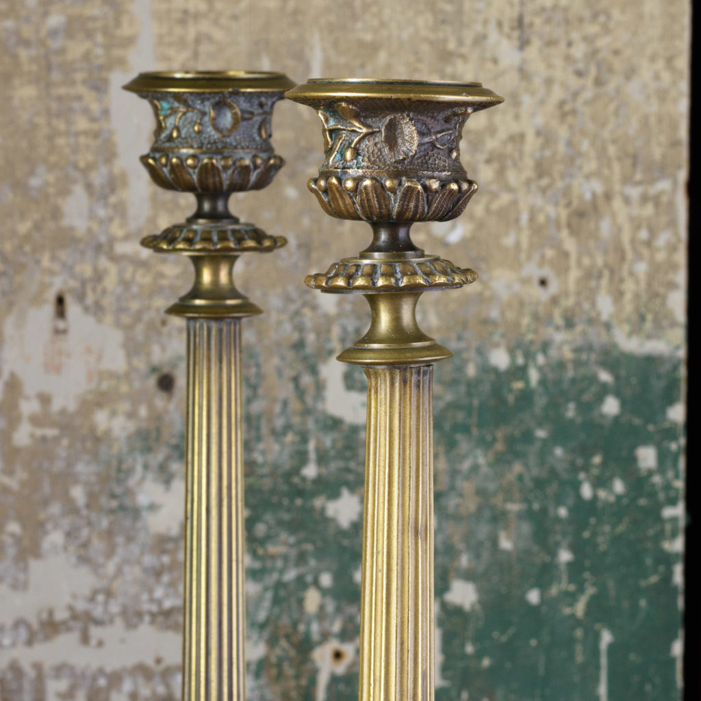Pair of nineteenth century French brass candlesticks,-106840