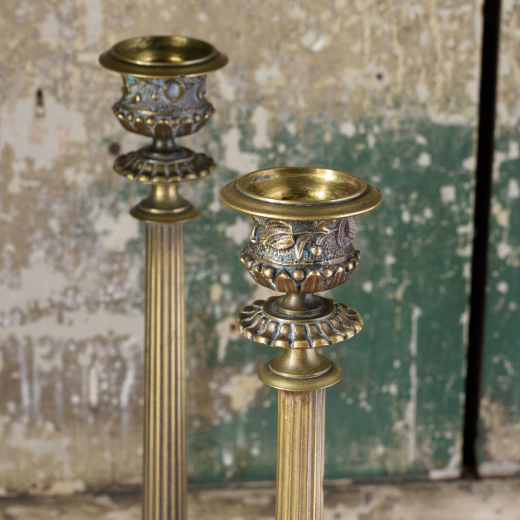 Pair of nineteenth century French brass candlesticks,-106839