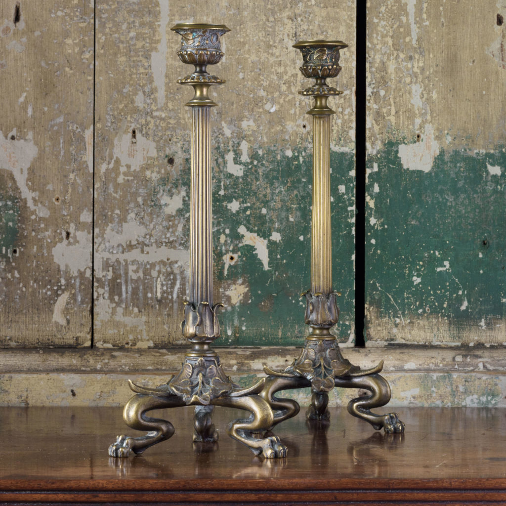 Pair of nineteenth century French brass candlesticks,-106844