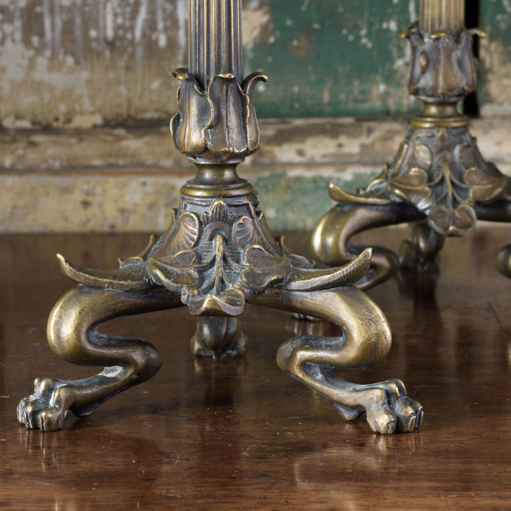Pair of nineteenth century French brass candlesticks,-106845