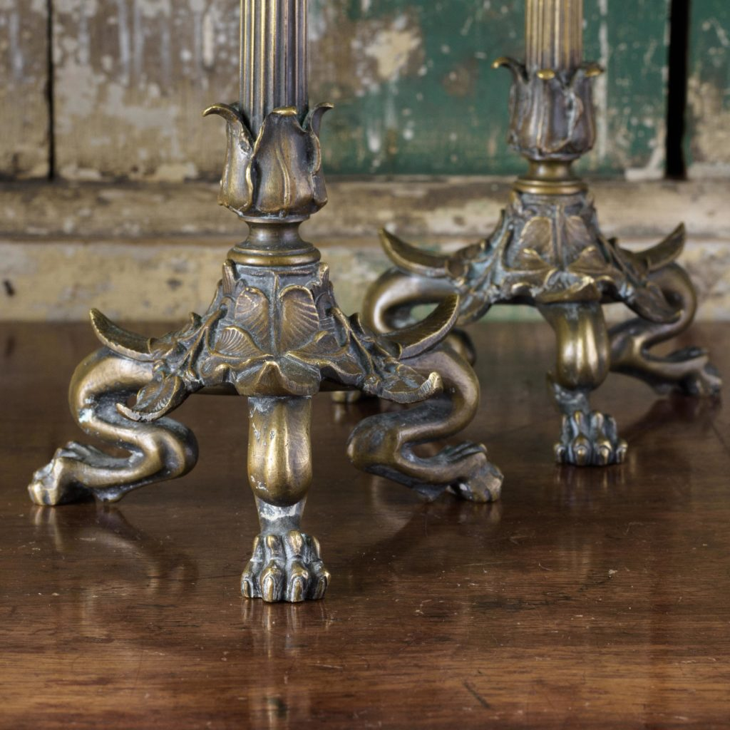 Pair of nineteenth century French brass candlesticks,-106843
