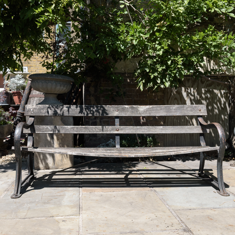 Late nineteenth century cast iron park bench,-107057