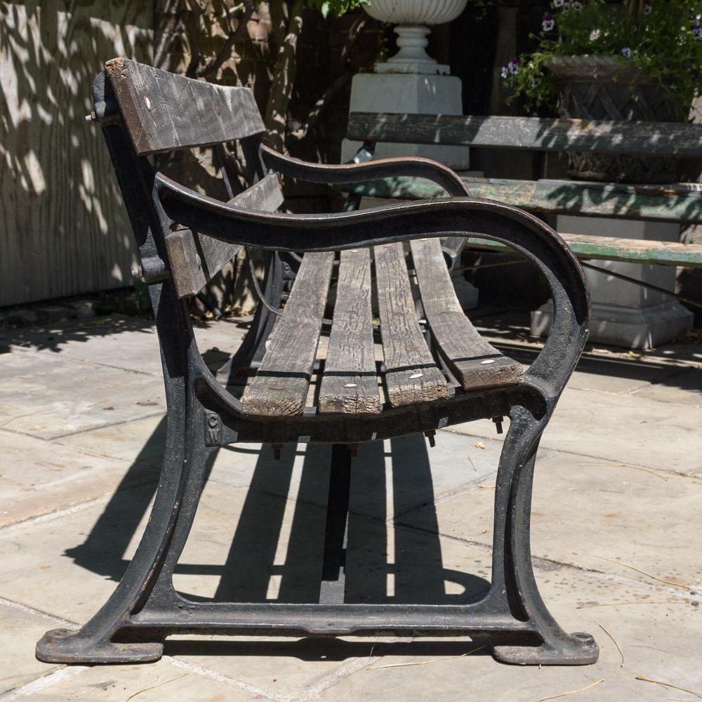 Late nineteenth century cast iron park bench,-107053