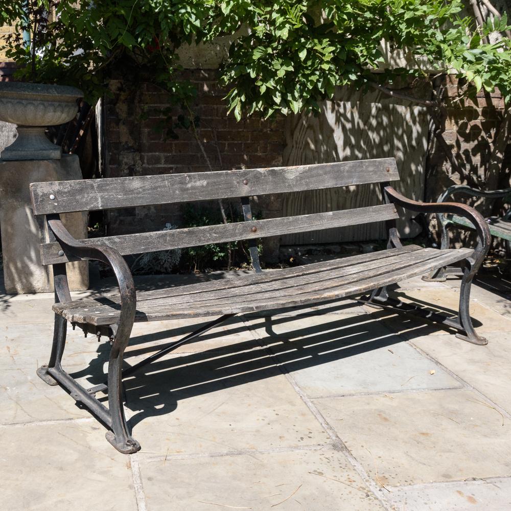Late nineteenth century cast iron park bench,-0
