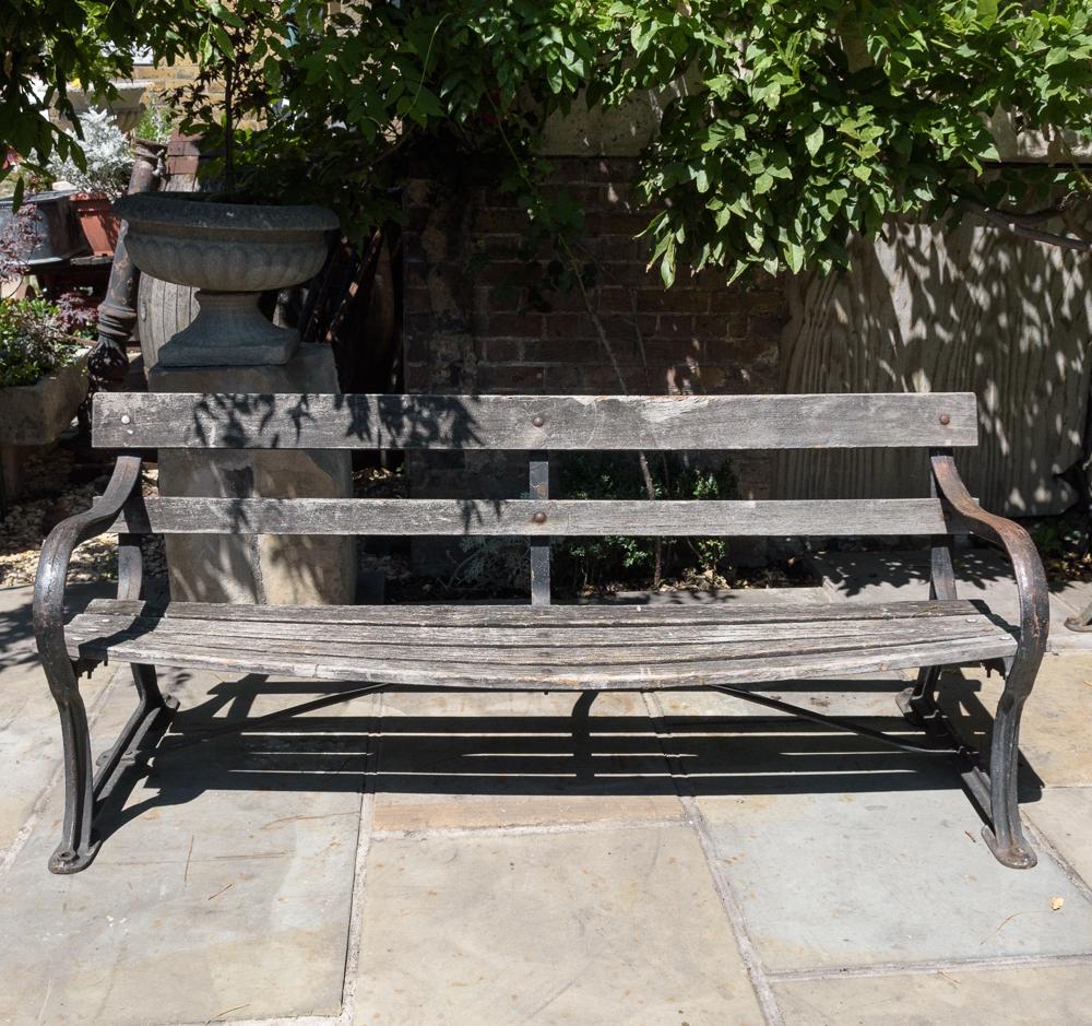 Late nineteenth century cast iron park bench,-107054