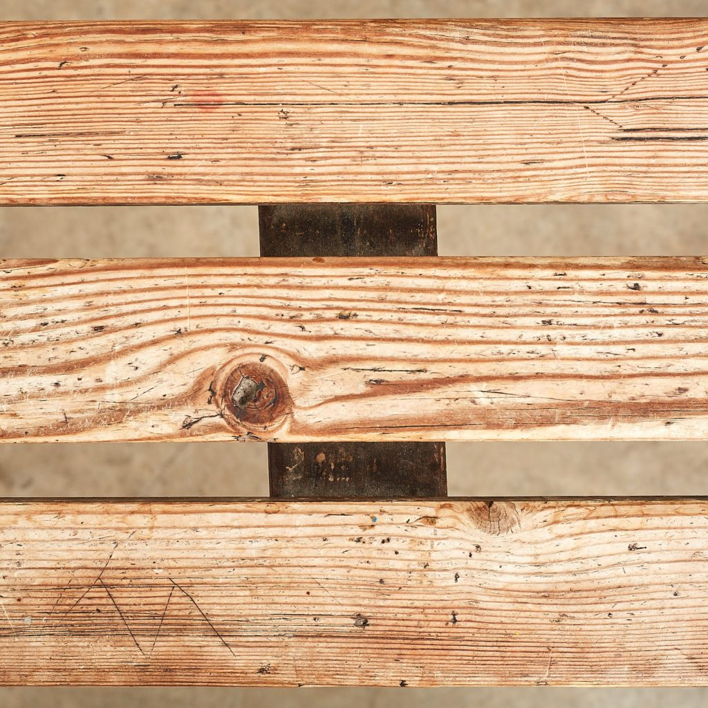 Distressed German pine beer hall benches,-107482