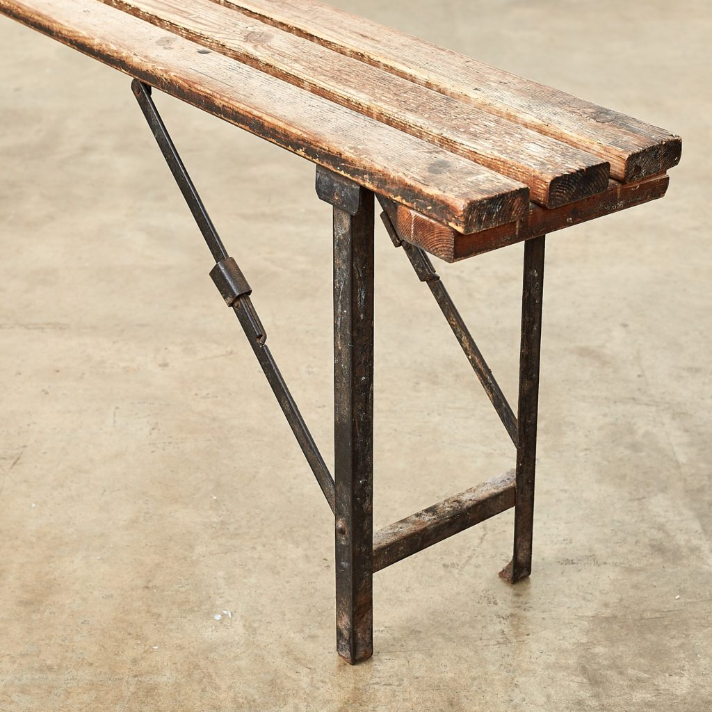Distressed German pine beer hall benches,-107484