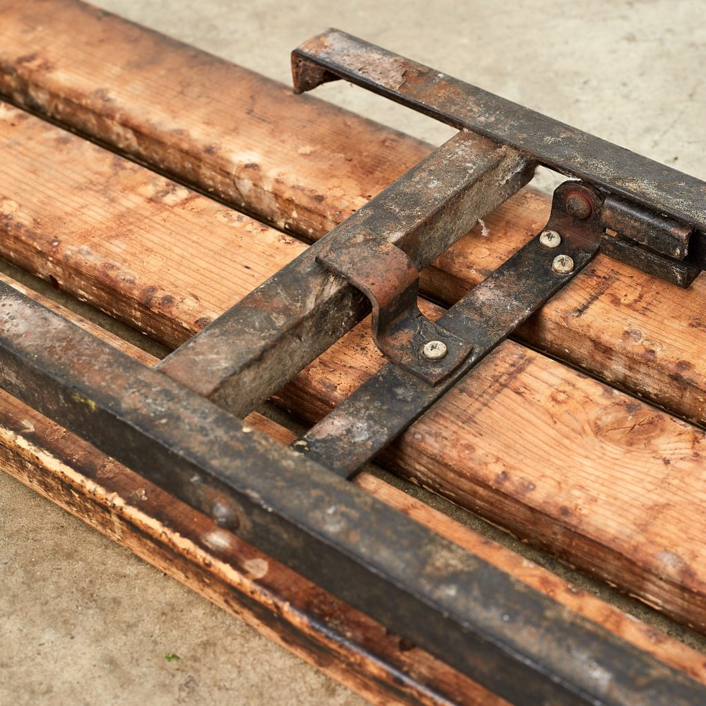 Distressed German pine beer hall benches,-107489