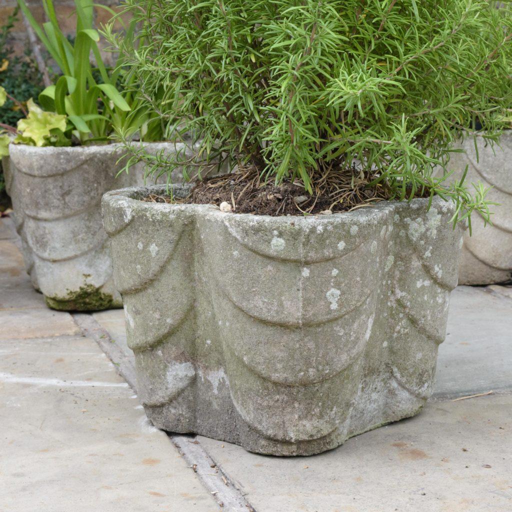 Four quatrefoil composition stone planters,-107288