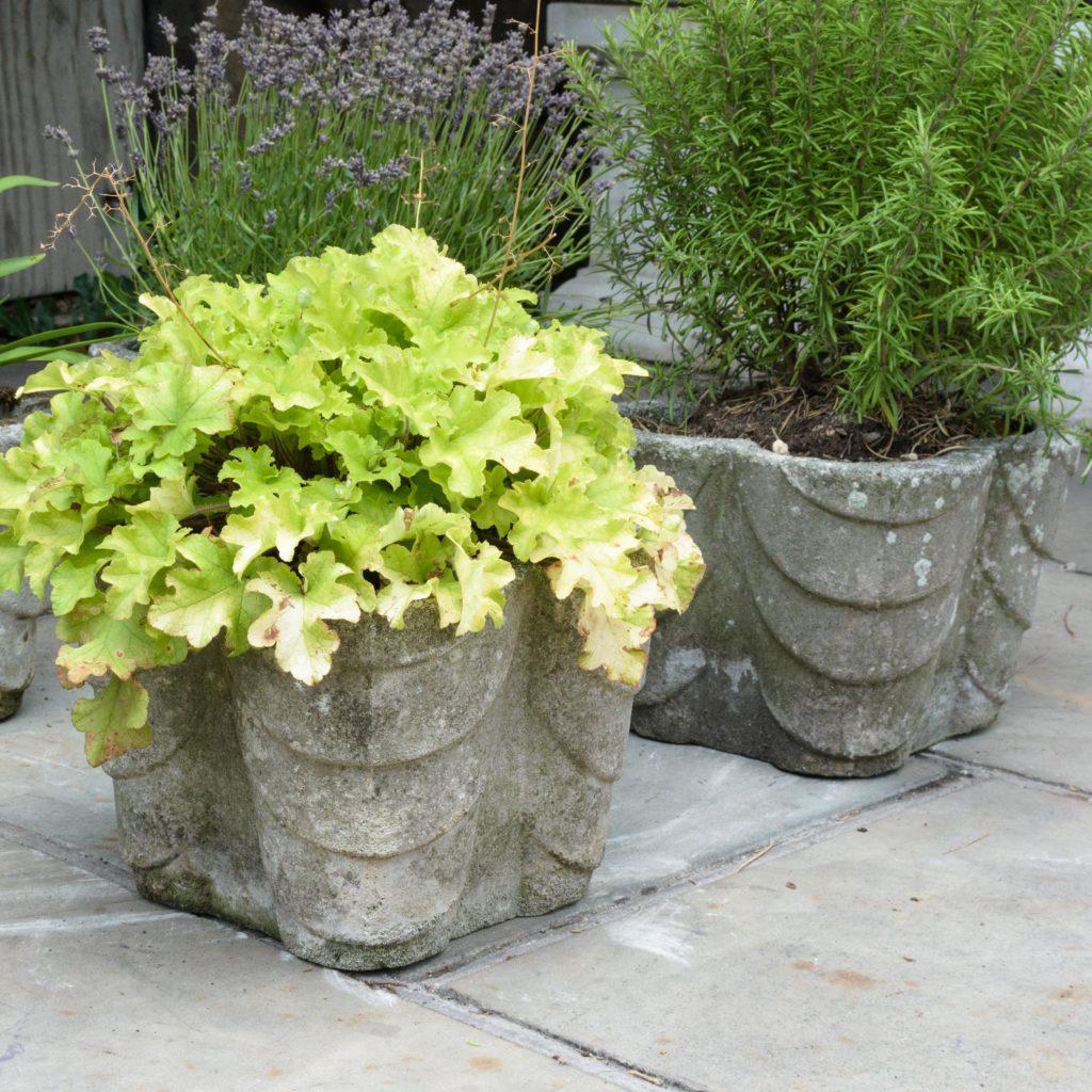 Four quatrefoil composition stone planters,-107292