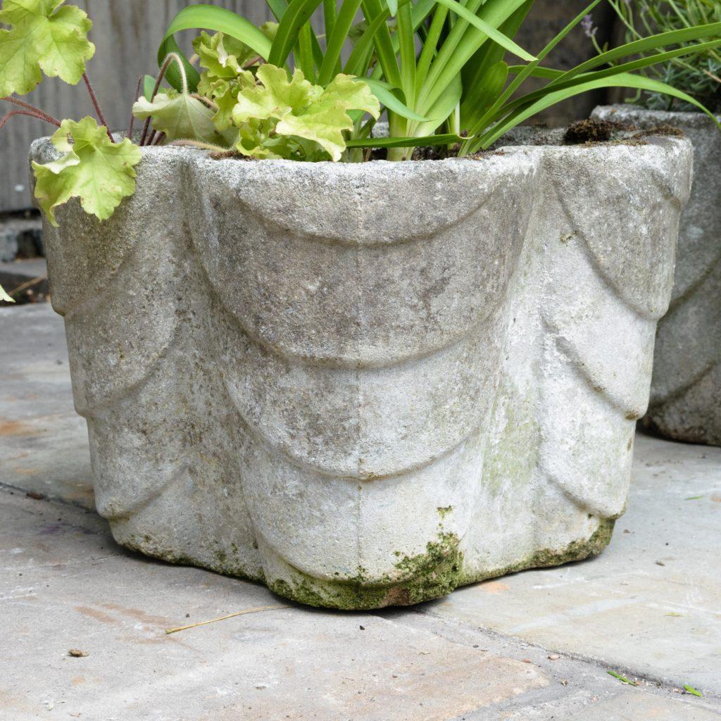 Four quatrefoil composition stone planters,-107286