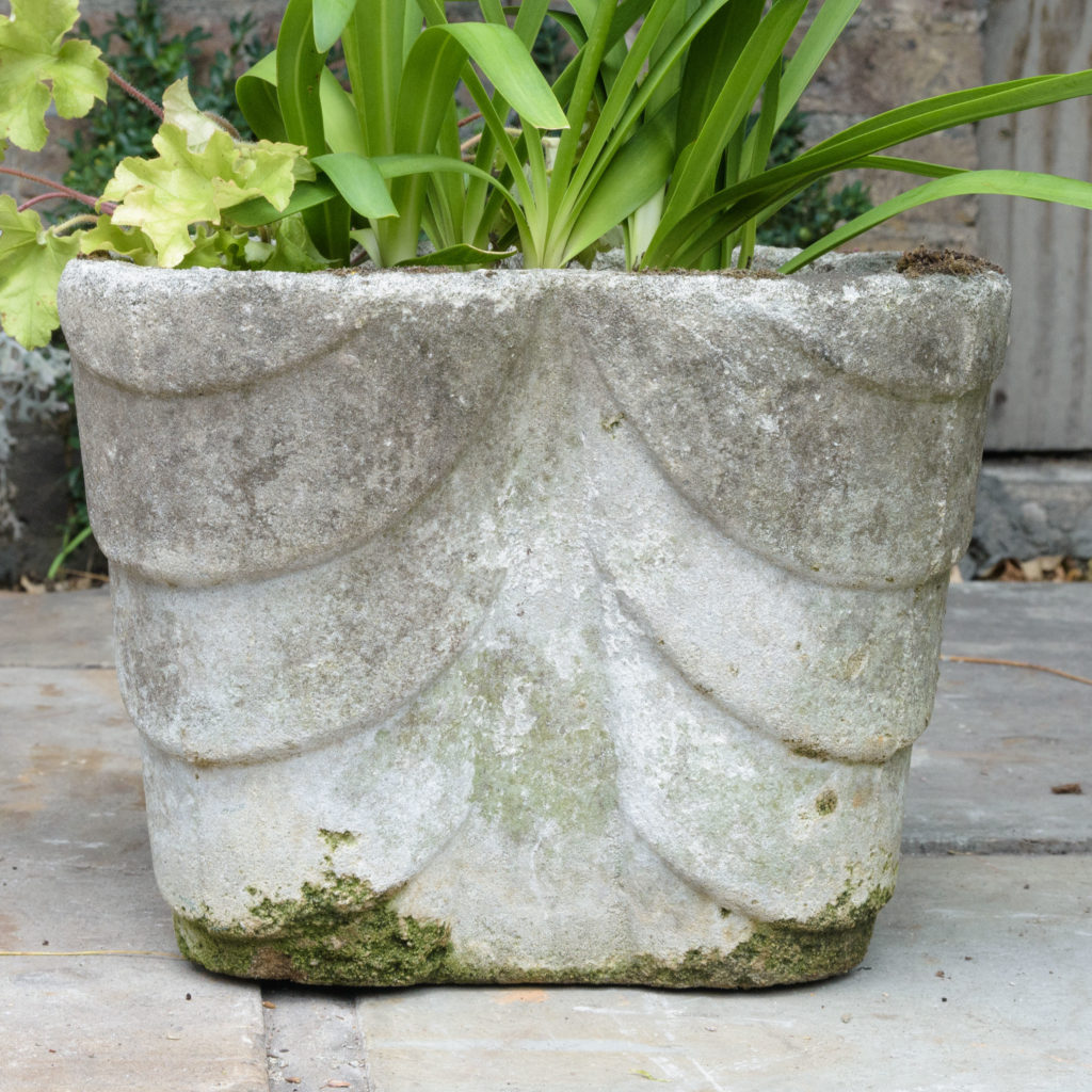 Four quatrefoil composition stone planters,-107290