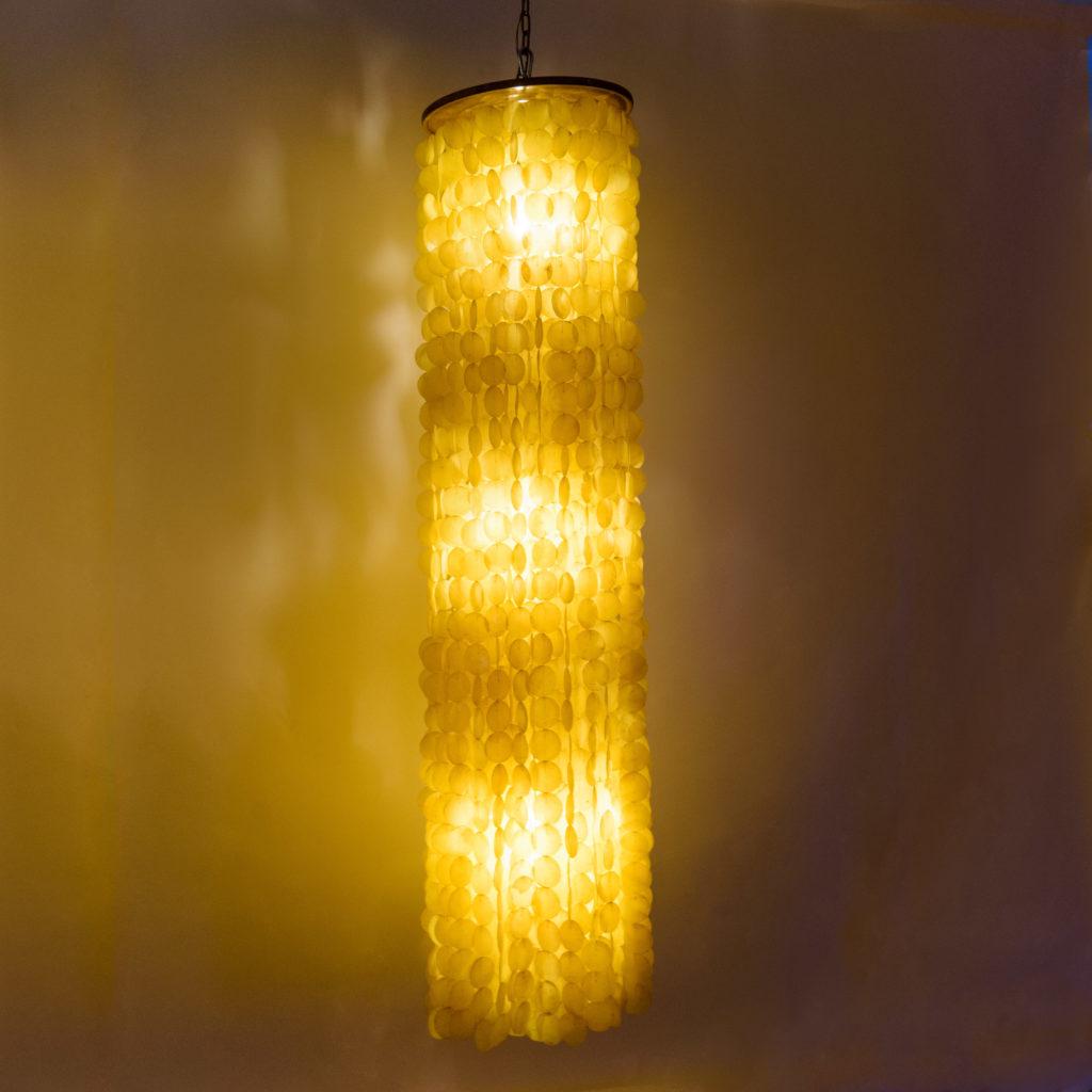 Large Danish capiz shell chandelier,-107634