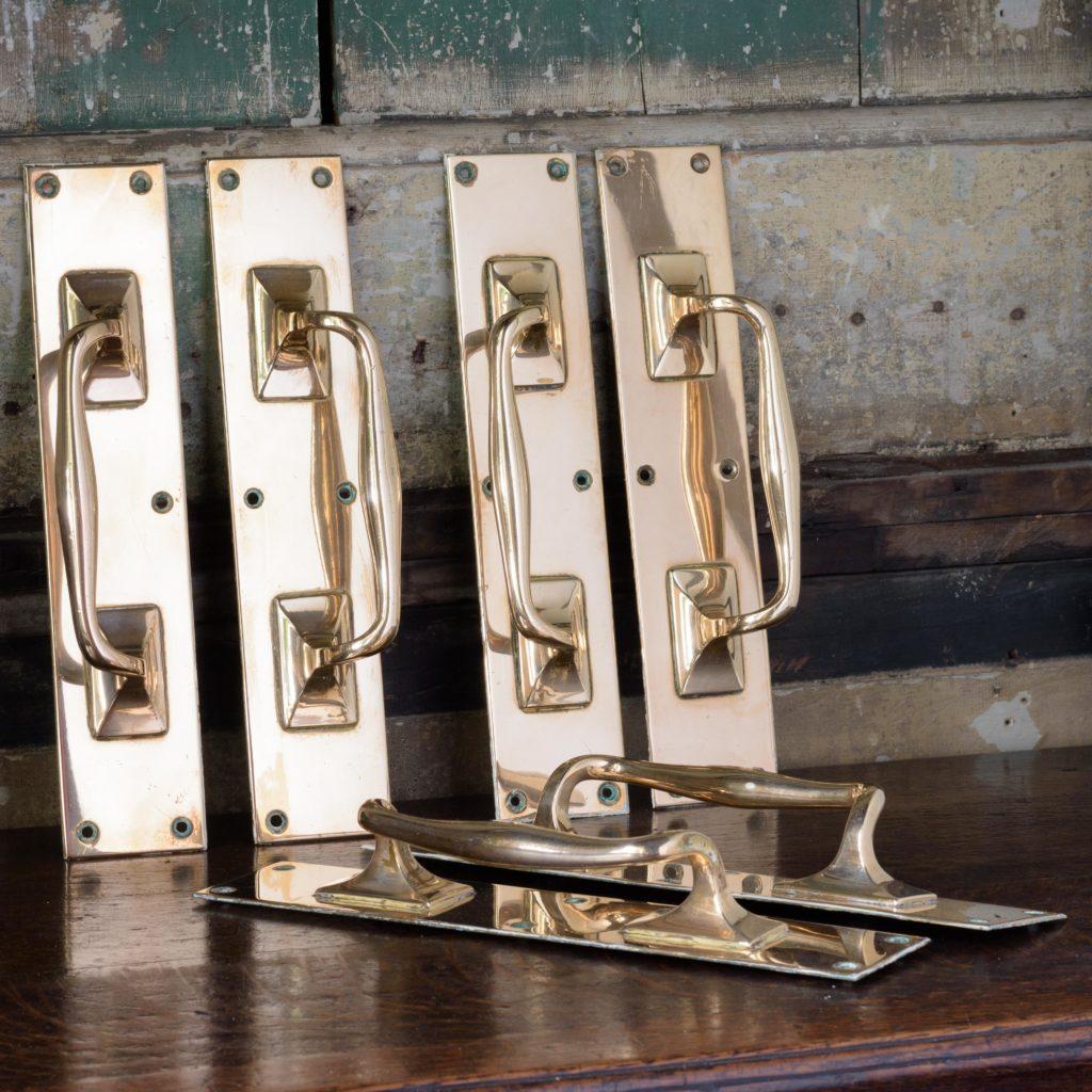 Pair of 1930's brass door pulls,-0