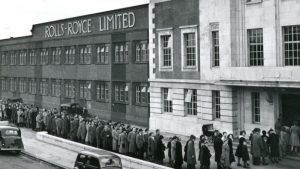 Rolls Royce workers at Nightingale Road, 1949 A.D.