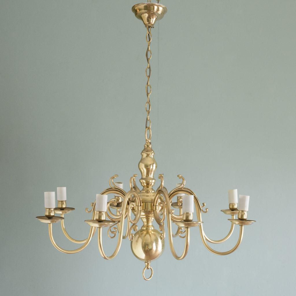 Eight branch Dutch style brass chandelier,-109093